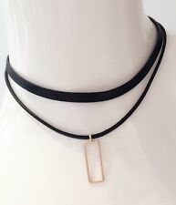Gold Gothic Rectangle Pendant PU Leather Double Layer Choker Necklace Chain
