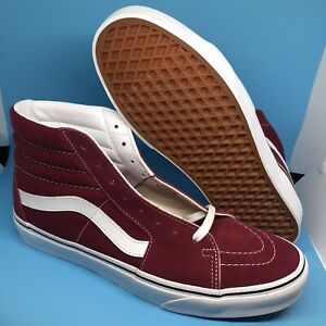 Vans Mens Sk8-Hi Rumba Red True White Canvas Suede Skate shoes Size 10 NWT
