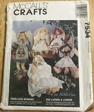 """Vintage McCall's Crafts 7534 HEIRLOOM BUNNIES 4"""" or 20"""" with Clothing Uncut"""
