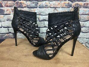 Bebe Rylea Open Toe Ultra High Heels Black Size 6
