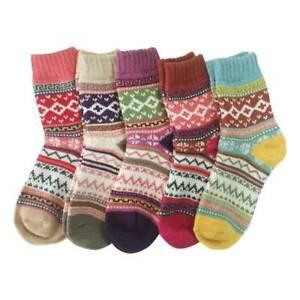 5 Pairs Women Ladies Winter Socks Warm Polyester Christmas Nordic Novelty Sock