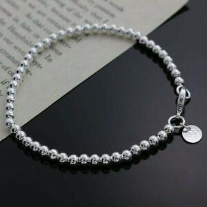 Womens 925 Sterling Silver Love Cuff Bead Ball Open Charm Bangle Bracelet