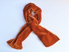 """Silk Velvet Scarf in IRIDESCENT PUMPKIN ORANGE Handmade 12x42"""""""