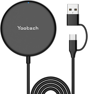 Yootech Magnetic Wireless Charger 5ft Charging Cable with Type C & USB A Port