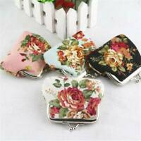 Women Small Wallet Bag Retro Flower Coin Change Purse Canvas Hasp Clutch Wallet