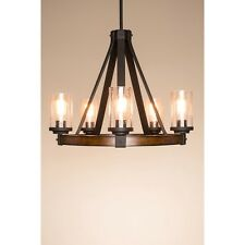 Candle Chandelier 5-Light Style Lighting Dimmable Foyer Modern Rustic Lamp Wood