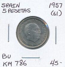 SPAIN 5 PESETAS 1957 (61)  KM 786  - BU