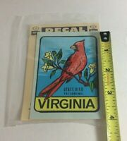 Vintage Virginia 1950's Impko Window Decal Sticker State Bird Cardinal 3in X 4in