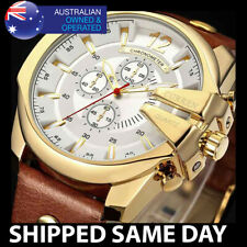 176T CURREN MENS ANALOG WATCH Waterproof Water Resistant Gold Miltary TAN 103