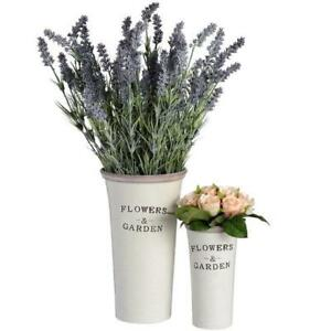 Set of Two Rustic Ceramic 'Flowers & Garden' Planters - Style My Pad