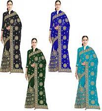 Fashion Women's Embroidered Bridal Wedding Bollywood Saree Party Wear Dress