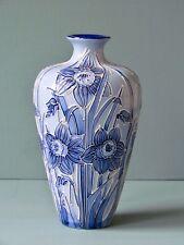 Moorcroft Narcissus Vase, blue on blue, florian ware style  (100548)