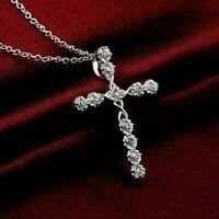0.90Ct Round Cut VVS1/D Diamond Cross Pendant 14K White Gold Finish Free Chain