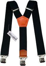 Mens Braces Wide Adjustable Elastic Suspenders Y Shape w/ Strong Clips