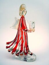 Large Clear Red & Gold Murano Glass Angel Candle Holder with Foil Murano Label