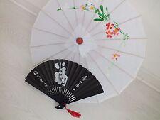 CHINESE JAPANESE S WHITE PARASOL BLACK LUCK HAND FAN WEDDING GIRL WOMEN UMBRELLA