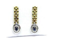 Oval Natural Sapphires 0.40ct. & Diamonds 0.28ct. Drop Earring 18k Yellow Gold