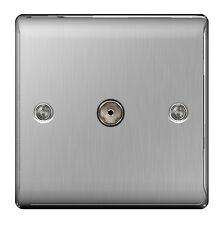 BG Nexus Metal NBS60 - STAINLESS STEEL 1 Gang TV COAX Co-Axial Socket Outlet