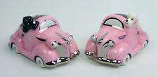 Adorable Black & White Poodles Driving Pink Roadster Car Salt & Pepper Shakers