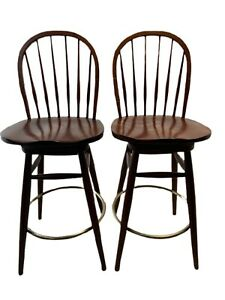 3 ETHAN ALLEN  American Impressions Swivel High Counter Stool Bar Chairs Cherry