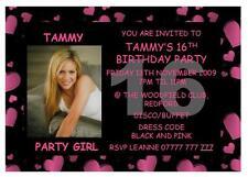 10 Personalised Hot Pink Heart 13th 16th Birthday Invitations Girls Kids Child