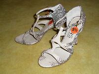 New KORS by Michael Kors T-strap Leather Snake Python Sandals Shoes Sz 5.5 $250