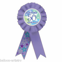 Happy 50th Birthday Blue Shimmer Star Gift Award Ribbon Party Rosette Badge