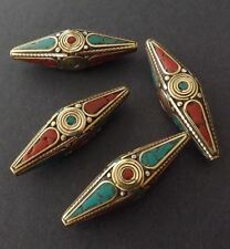 w/ Brass & Coral,Turquoise Inlaid Big Bicone pendant -55mmX18mm Nepalese Beads