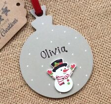 Personalised Christmas Tree Decoration Snowman Bauble