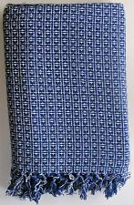 "Homespun Textured Tablecloth Country Living Woven Blue and White 60"" x 84"" New"