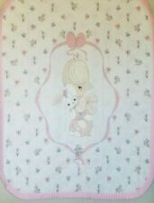 Vintage Precious Moments Baby Blanket Girl Bunny Crib Quilt Comforter Pink White
