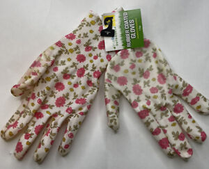 New True Living Outdoors Pink White Floral Rubber Coated Garden Gloves One Size