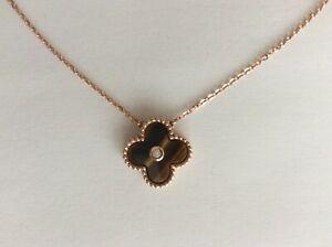 """14k  585 Rose Gold Four Leaf Clover Tiger Eye Necklace   18""""inch"""
