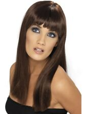Brown Glamourama Wig Long Straight w/ Fringe Adult Smiffys Fancy Dress Costume