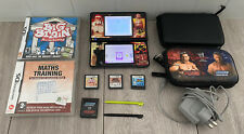 NINTENDO DSi BLACK WITH WWE PROTECTIVE COVER+2 CASES+3 GAMES+2 STYLUS+CHARGER