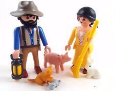 WESTERN COUPLE with FARM ANIMALS / Farmer & Lady Maid / WESTERN FIGURE Playmobil