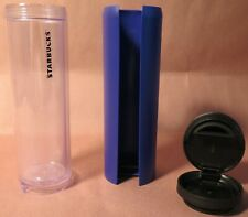 STARBUCKS Case Tumbler w/ Blue Purple Case Cover 16oz Grande plastic Travel Cup