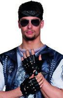 Gants motard deguisement punk faux cuir cloutés mitaines  années 80 homme femme