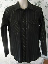 Wrangler Western Men's Pearl Snap Shirt Large Black Gold Stripe Long Sleeve