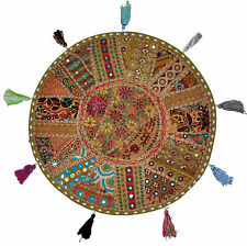 """32""""round floor pillow embroidered seating cushion bohemian vintage pouf beanbag"""