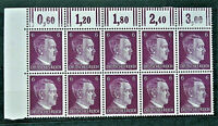 WW2 REAL HITLER 3rd REICH ERA GERMAN BLOCK OF 10 STAMPS A.HITLER 6 RF MARG. MNH