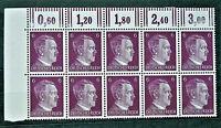 WW2 REAL HITLER 3rd REICH ERA GERMAN BLOCK OF 10 STAMPS A.HITLER 6 RF MARG. MNH