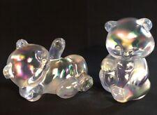 Fenton Art Glass White Carnival Bear Set Made For Singelton Bailey LIMITED