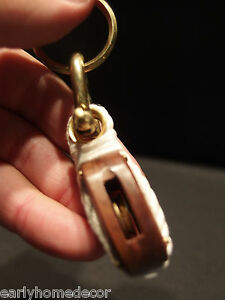 Vintage Antique Style Wood Brass Nautical Sailing Pulley Boat Ship Keychain