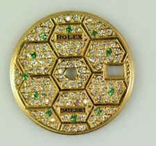 18K GOLD DIAMOND DIAL WITH EMERALD MARKERS FOR ROLEX 6917 69173(8) CAL.2030 2135