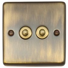 G&H CAB282 Standard Plate Antique Bronze 2 Gang 1 or 2 Way Toggle Light Switch