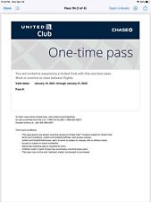 United Airlines Club Lounge Pass, Prompt e-delivery, Expires 1/21/2022