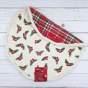 Reversible Placemat Centerpiece Quilted Holiday Holly Berry Plaid 15 Inch Round
