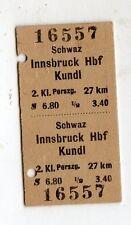 BIGLIETTO FERROVIARIO  EDMONSON TICKET SCHWAZ   INNSBRUCK HFB  KUNDL  07-08-1958