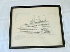 Vintage Belle of Louisville Print Tony Oswald Framed Steamboat Etching